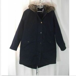 Lands End Nwt 3 in 1 coat womens S 6 8 Navy faux